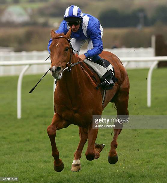 Richard Hills and Thabaat land The Invicta Motors Ashford Maiden Stakes Race run at Folkestone Racecourse on April 3 in Folkestone England
