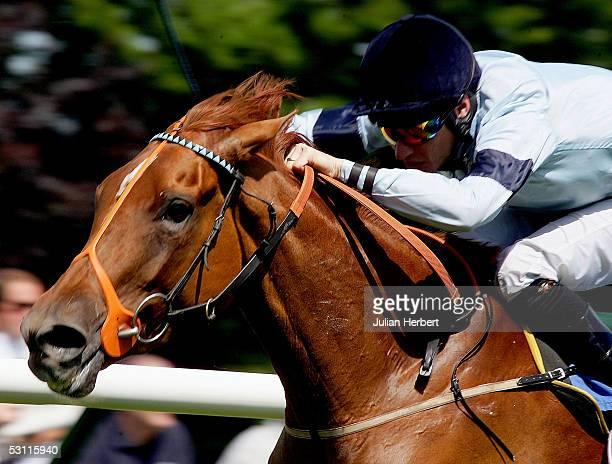 Richard Hughes and Abide land The Smith Williamson Maiden Fillies Stakes Race run at Salisbury Racecourse on June 22 2005 at Salisbury England