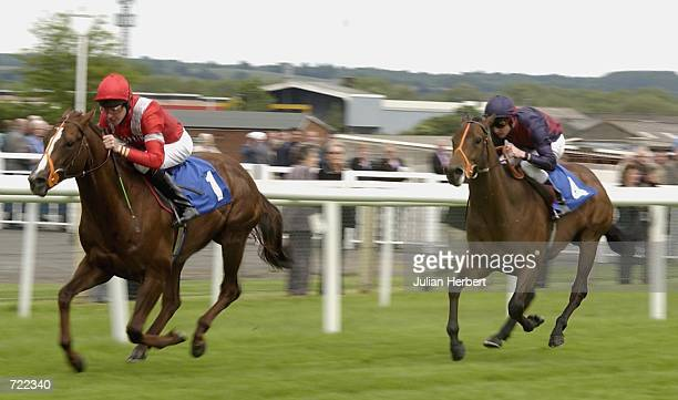 Richard Hughes and Al Turf lead the Dane O'Neill ridden Cosmo to land The Stan James Telebetting Maiden Stakes run at Newbury Racecourse in Newbury...