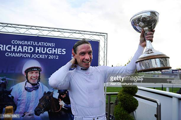 Richard Hughes celebrates winning the 2012 champion jockeys title at Doncaster racecourse on November 10 2012 in Doncaster England