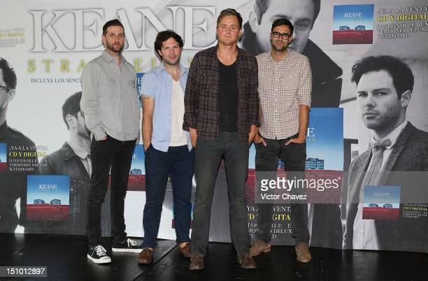 Richard Hughes Jesse Quin Tom Chaplin and Tim RiceOxley of Keane attend a photocall and press conference to promote their new album 'Strangeland' in...