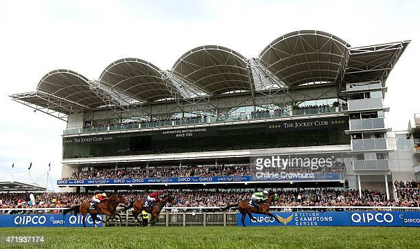 Richard Hughes rides Balty Boys to win The Makfi Suffolk Stakes at Newmarket racecourse on May 02 2015 in Newmarket England