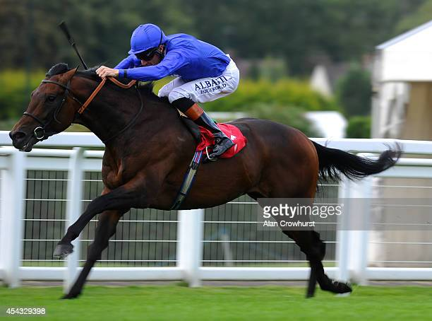 Richard Hughes riding Basem win The ROA Owners Jackpot Handicap Stakes at Sandown racecourse on August 29 2014 in Esher England