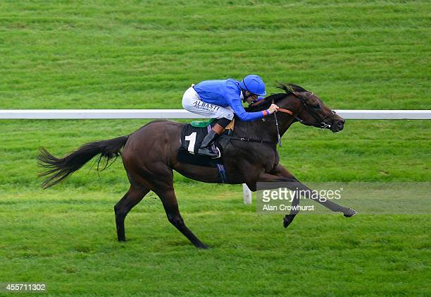 Richard Hughes riding Code Of Honor win The Dubai Duty Free Conditions Stakes at Newbury racecourse on September 19 2014 in Newbury England