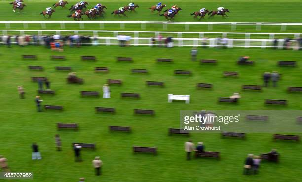 Richard Hughes riding Desert Force win The Al Basti Equiworld EBF Maiden Stakesat Newbury racecourse on September 19 2014 in Newbury England