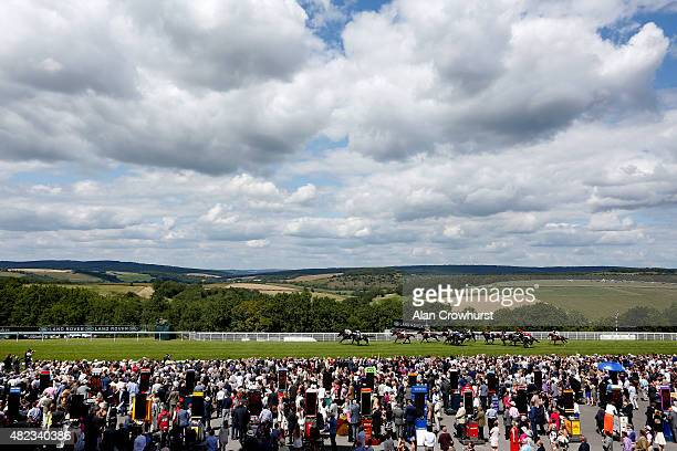 Richard Hughes riding Gibeon win The Land Rover Stakes at Goodwood racecourse on July 30 2015 in Chichester England