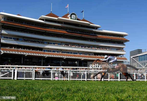 Richard Hughes riding Olympic Glory win The Aon Greenham Stakes at Newbury racecourse on April 20 2013 in Newbury England