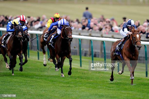 Richard Hughes riding Strong Suit win The Burj Khalifa Challenge Stakes at Newmarket racecourse on October 08 2011 in Newmarket England