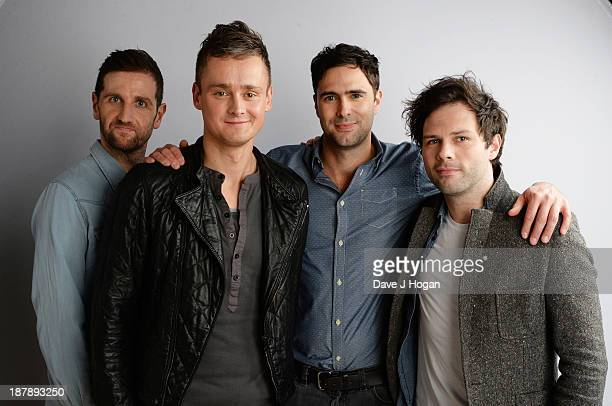 Richard Hughes Tom Chaplin Tim RiceOxley and Jesse Quinn of Keane pose backstage during the 'BBC Children In Need Rocks' at Hammersmith Eventim on...
