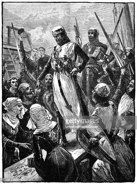 Richard I Coeur de Lion landing at Sandwich Kent 14 March 1194 Richard son of Henry II and Eleanor of Aquitaine and second Angevin king of England On...
