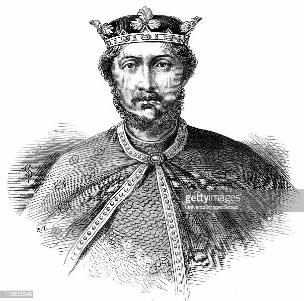 Richard I Coeur de Lion son of Henry II and Eleanor of Aquitaine reigned as King of England Second of the Angevin kings of England Wood engraving...