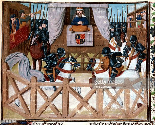Richard II King of England presiding at a tournament 13771379 Watched by the king mounted knights in armour joust with lances In the pavilion on the...
