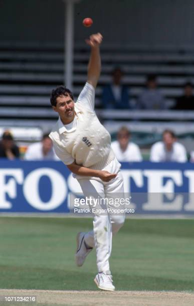 Richard Illingworth bowling on his Test debut for England during the 3rd Test match between England and West Indies at Trent Bridge Nottingham 5th...