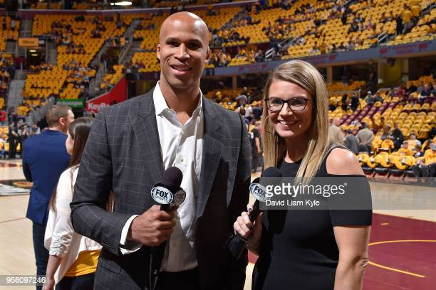 Richard Jefferson and Allie Clifton pose for a photograph before the game between Cleveland Cavaliers and Toronto Raptors in Game Four of the Eastern...