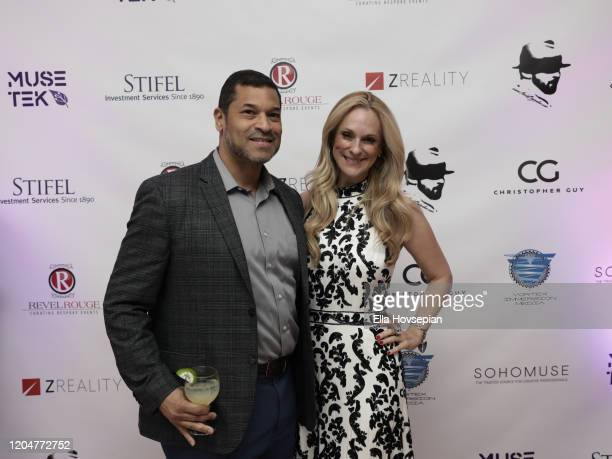Richard Jefferson and Consuelo Vanderbilt Costin attend at the LA Launch Event Of SohoMuse at Christopher Guy West Hollywood Showroom on February 07...