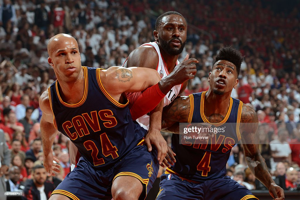 Richard Jefferson #24 and Iman Shumpert #4 of the Cleveland Cavaliers box out Patrick Patterson #54 of the Toronto Raptors during Game Six of the NBA Eastern Conference Finals at Air Canada Centre on May 27, 2016 in Toronto, Ontario, Canada.