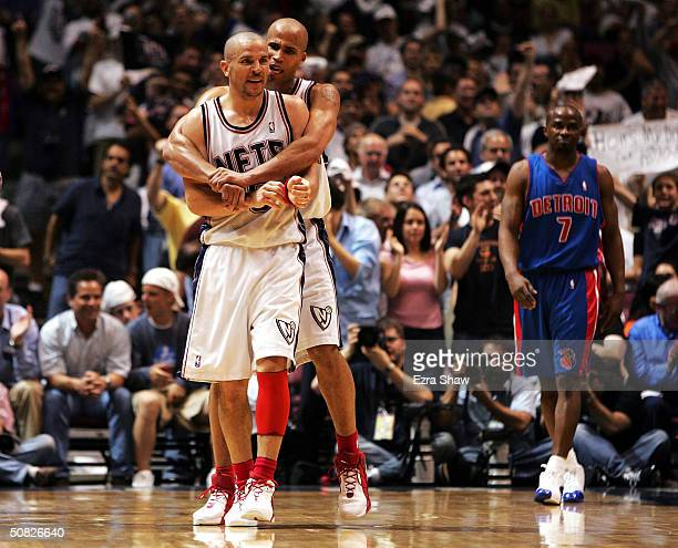 Richard Jefferson hugs teammate Jason Kidd of the New Jersey Nets after Kidd made a basket to go up 7456 in the third quarter against the Detroit...