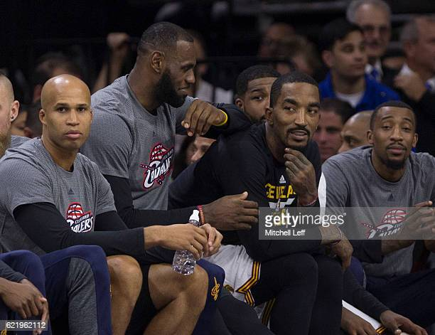 Richard Jefferson LeBron Jamesand JR Smith of the Cleveland Cavaliers sit on the bench against the Philadelphia 76ers at Wells Fargo Center on...