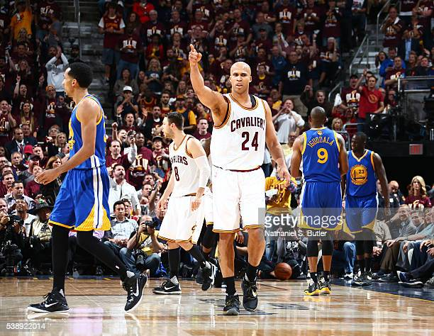 Richard Jefferson of the Cleveland Cavaliers celebrates during the game against the Golden State Warriors in Game Three of the 2016 NBA Finals...