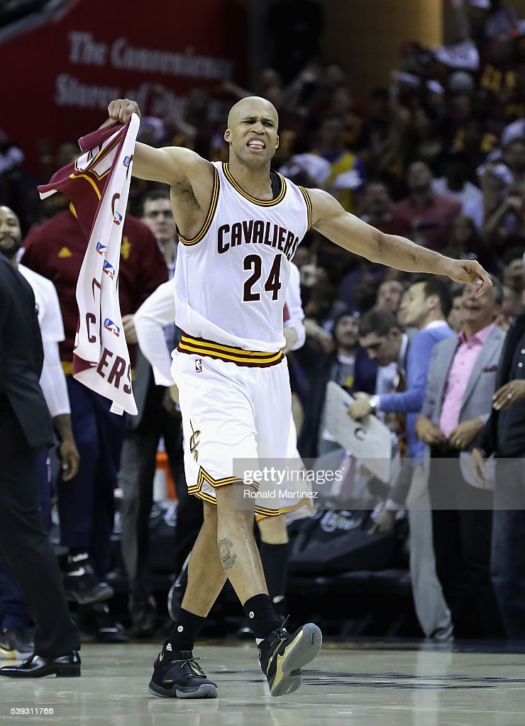 Richard Jefferson #24 of the Cleveland Cavaliers reacts during the first half against the Golden State Warriors in Game 4 of the 2016 NBA Finals at Quicken Loans Arena on June 10, 2016 in Cleveland, Ohio.