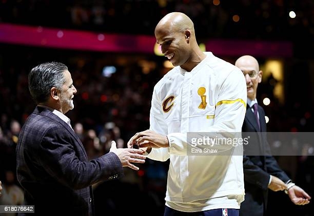 Richard Jefferson of the Cleveland Cavaliers receives his championship ring from owner Dan Gilbert before the game against the New York Knicks at...