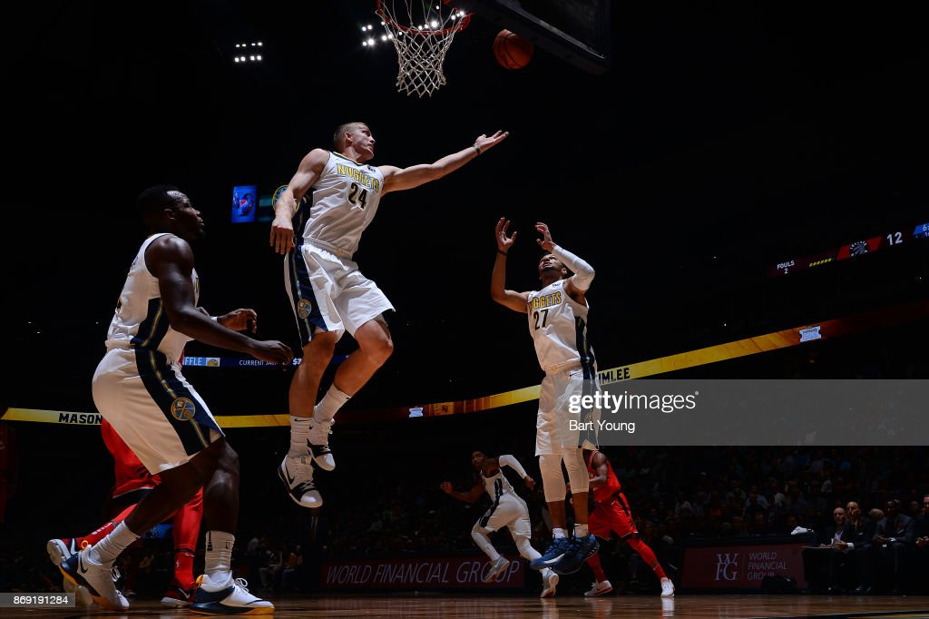 Richard Jefferson #24 of the Denver Nuggets and Jamal Murray #27 of the Denver Nuggets await the ball during the game against the Toronto Raptors on November 1, 2017 at the Pepsi Center in Denver, Colorado.