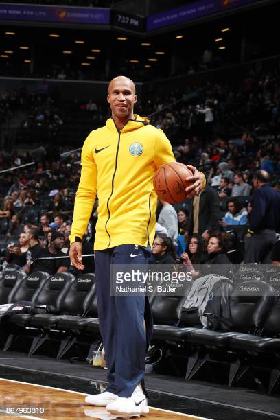 Richard Jefferson of the Denver Nuggets handles the ball during warmups against the Brooklyn Nets on October 29 2017 at Barclays Center in Brooklyn...