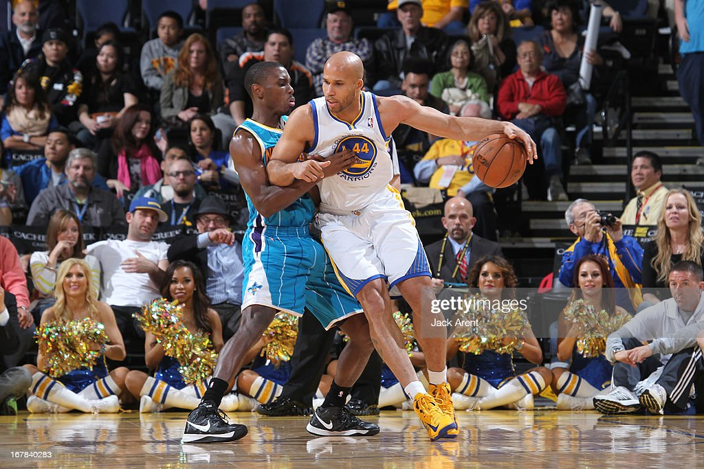 Richard Jefferson #44 of the Golden State Warriors drives to the basket against the New Orleans Hornets on April 3, 2013 at Oracle Arena in Oakland, California.