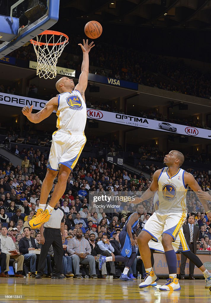 Richard Jefferson #44 of the Golden State Warriors rebounds against the Dallas Mavericks on January 31, 2013 at Oracle Arena in Oakland, California.