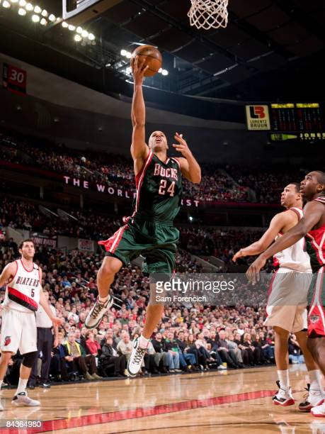 Richard Jefferson of the Milwaukee Bucks goes up for a shot during a game against the Portland Trail Blazers on January 19, 2009 at the Rose Garden...