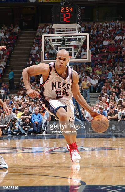 Richard Jefferson of the New Jersey Nets drives against the Detroit Pistons in Game four of the Eastern Conference Semifinals during the 2004 NBA...