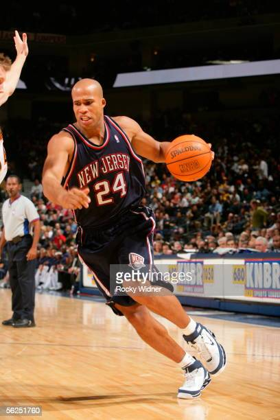 Richard Jefferson of the New Jersey Nets drives to the basket against the Golden State Warriors on November 21 2005 at the Arena in Oakland...