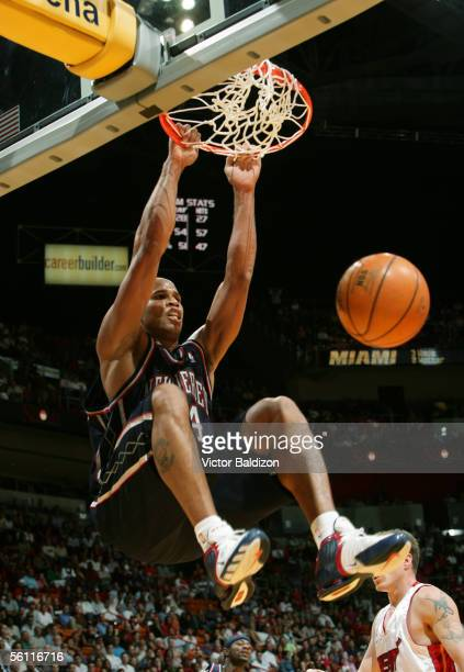 Richard Jefferson of the New Jersey Nets dunks against the Miami Heat November 7 2005 at American Airlines Arena in Miami Florida NOTE TO USER User...