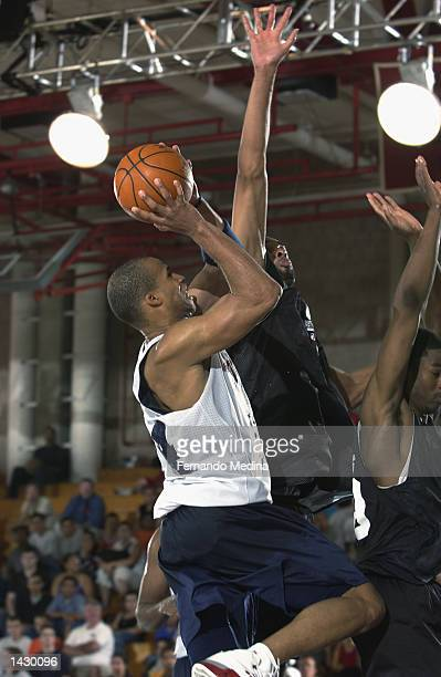Richard Jefferson of the New Jersey Nets geos to the basket against the Minnesota Timberwolves during Shaw's Pro Summer League on July 17 2002 at...