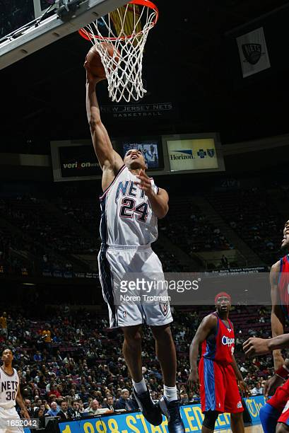 Richard Jefferson of the New Jersey Nets goes to the basket during the NBA game against the Los Angeles Clippers at Continental Airlines Arena on...
