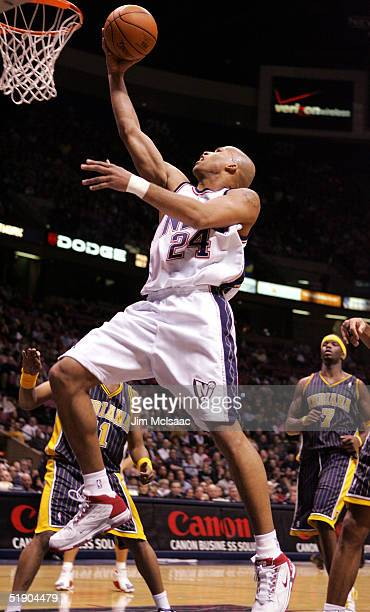 Richard Jefferson of the New Jersey Nets lays up a basket against the Indiana Pacers on December 30 2004 at Continental Airlines Arena in East...