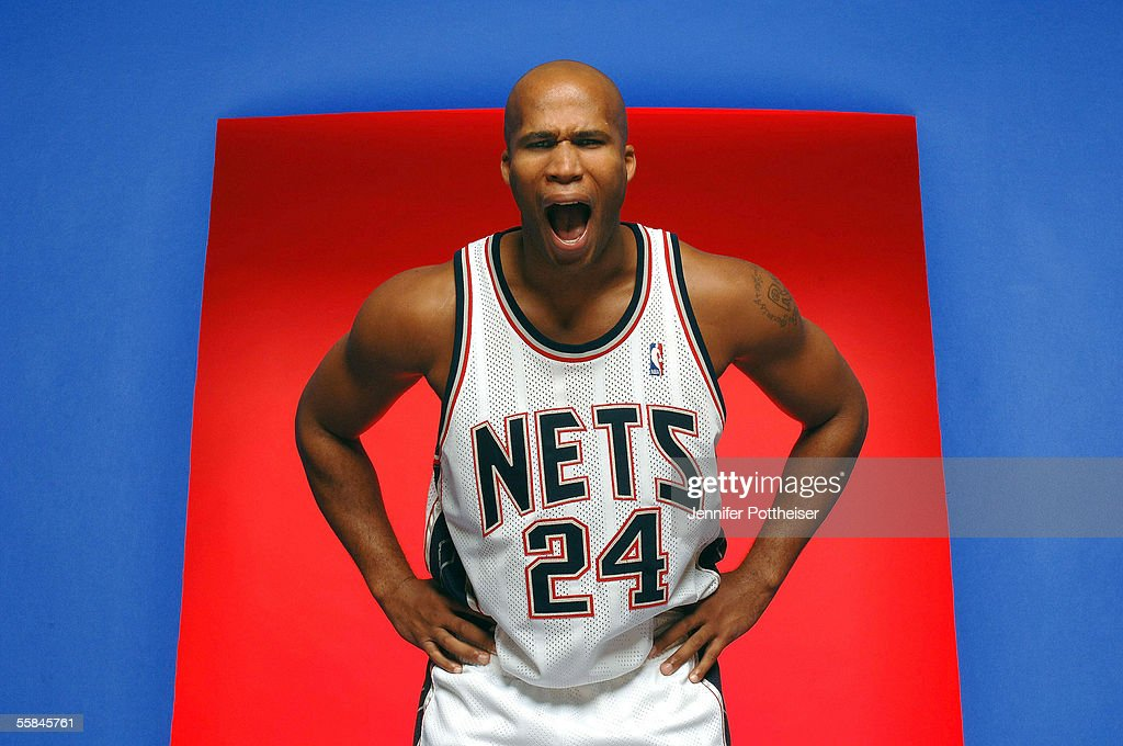 Richard Jefferson #24 of the New Jersey Nets poses during the Nets Media Day on October 3, 2005 in East Rutherford, New Jersey.