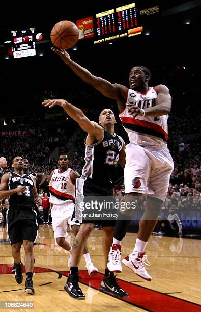 Richard Jefferson of the San Antonio Spurs guards the shot of Wesley Matthews of the Portland Trail Blazers on February 1 2011 at the Rose Garden in...