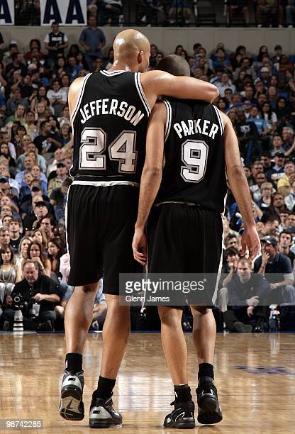 Richard Jefferson of the San Antonio Spurs hugs teammate Tony Parker in Game Two of the Western Conference Quarterfinals against the Dallas Mavericks...