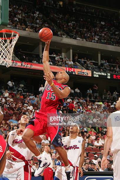 Richard Jefferson of the United States dunks during the exhibition game against Puerto Rico at Jacksonville Veterans Memorial Arena on July 31 2004...