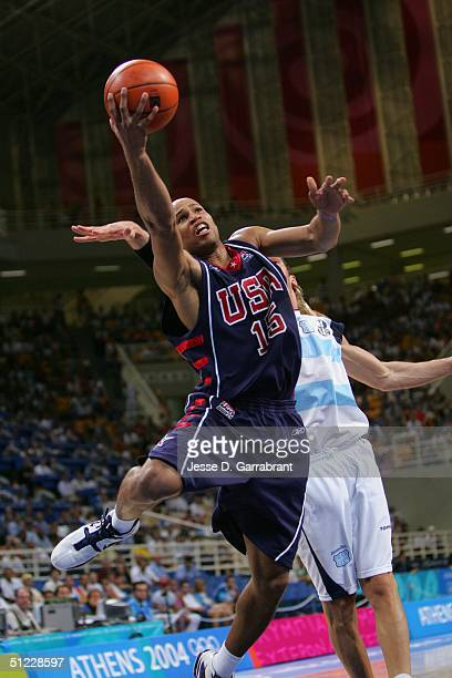 Richard Jefferson of the USA goes to the basket against Argentina during the mens' basketball semifinal game on August 27 2004 during the Athens 2004...