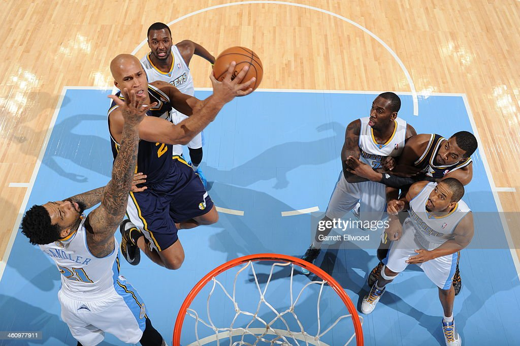 Richard Jefferson #24 of the Utah Jazz drives to the basket against the Denver Nuggets on December 13, 2013 at the Pepsi Center in Denver, Colorado.