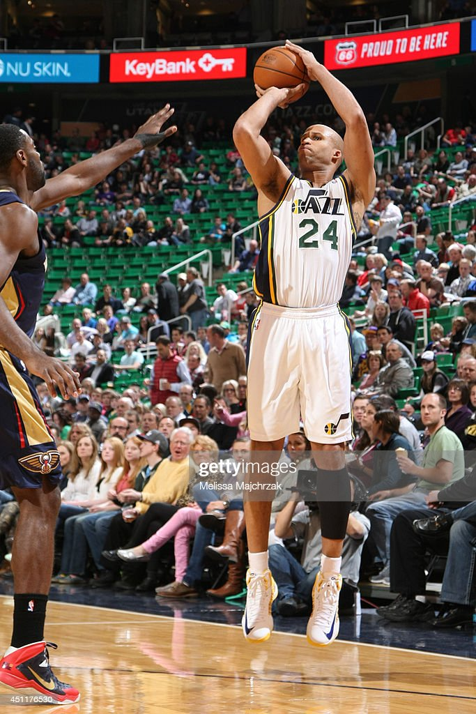Richard Jefferson #24 of the Utah Jazz takes a shot against the New Orleans Pelicans at EnergySolutions Arena on April 04, 2014 in Salt Lake City, Utah.