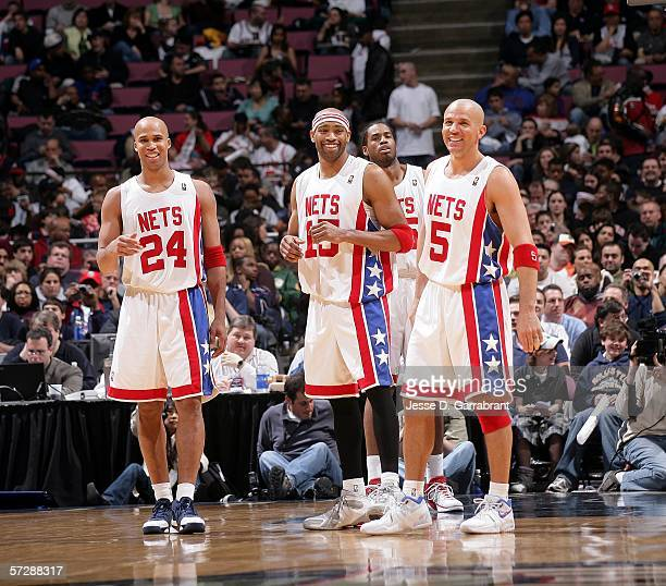 Richard Jefferson Vince Carter and Jason Kidd of the New Jersey Nets are seen during the game against the Cleveland Cavaliers on April 8 2006 at the...