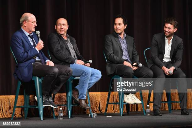 Richard Jenkins, J. Miles Dale, Paul D. Austerberry, and Sam Lansky on stage at 'The Shape of Water' screening at Trustees Theater during 20th...