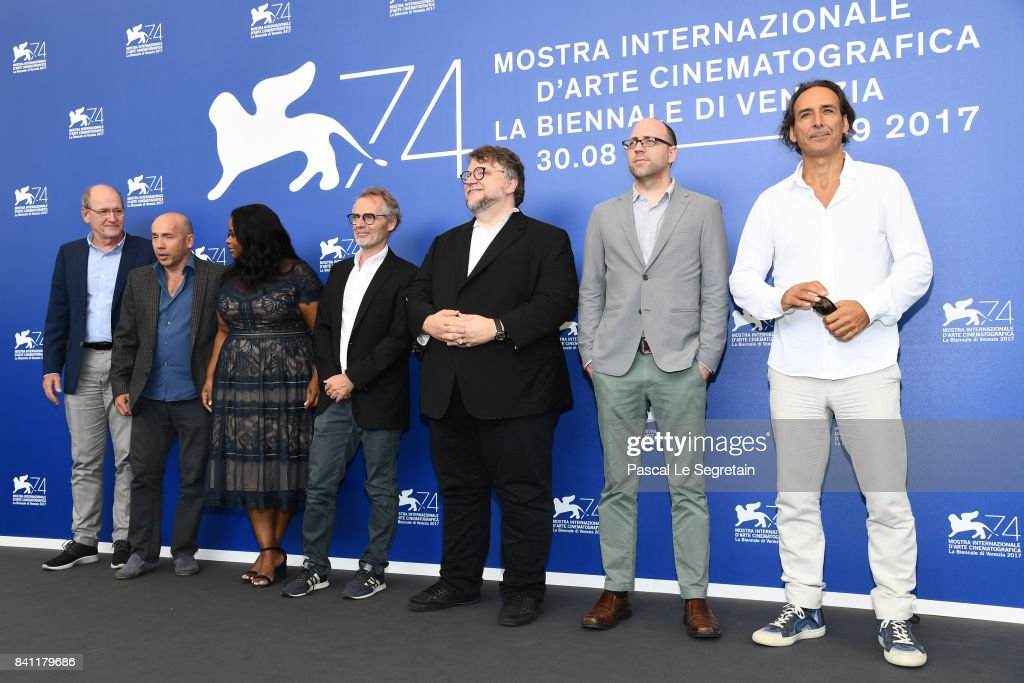 Richard Jenkins, Sally Hawkins, Matthew Greenfield, Octavia Spencer, Dan Laustsen, Guillermo del Toro, J. Miles Dale and Alexandre Desplat attend the 'The Shape Of Water' photocall during the 74th Venice Film Festival on August 31, 2017 in Venice, Italy.