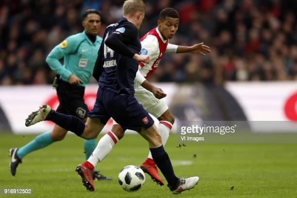 Richard Jensen of FC Twente David Neres of Ajax during the Dutch Eredivisie match between Ajax Amsterdam and FC Twente Enschede at the Amsterdam...