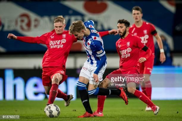 Richard Jensen of FC Twente Martin Odegaard of sc Heerenveen Cristian Cuevas of FC Twente during the Dutch Eredivisie match between sc Heerenveen and...