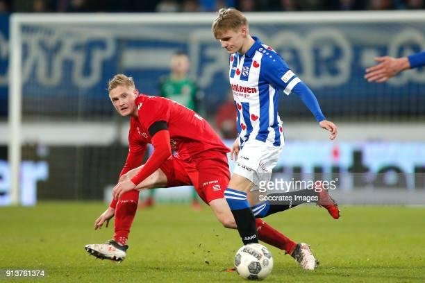 Richard Jensen of FC Twente Martin Odegaard of SC Heerenveen during the Dutch Eredivisie match between SC Heerenveen v Fc Twente at the Abe Lenstra...