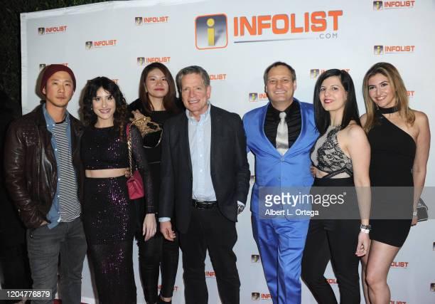 Richard Jin Adrieanne Perez David Zucker Jeff Gund Ellie Shoja and Fatima Razavi attend INFOlistcom's PreOSCAR Soiree and Birthday Party for founder...
